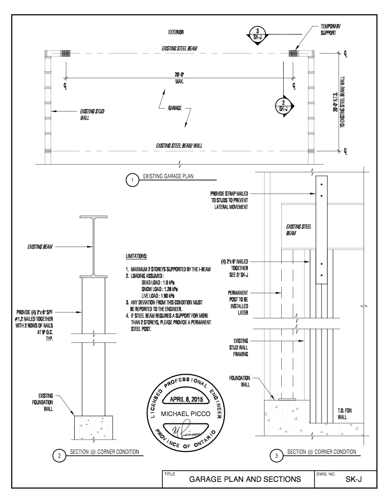 Temp-Steel-Beam-Support-for-2-storey-April-2015