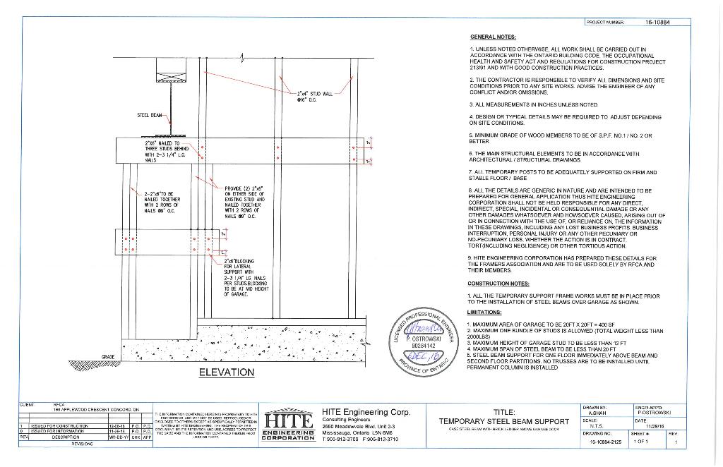 Temporary-Steel-Beam-Support-Above-Garage-Door-12-ft-studs-Hite-Eng-December-7-2016